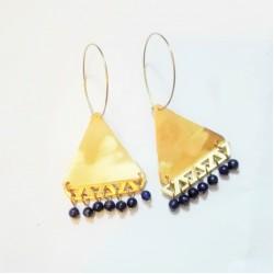 Σκουλαρίκια τρίγωνα με μπλε πέτρες λάπις Bud-ea10