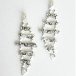 Μακριά σκουλαρίκια με βέργες με  τρίγωνα και ημιπολύτιμες πέτρες, Budea-9