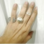 Δαχτυλίδι ασημένιο μπουλ Rinri-1