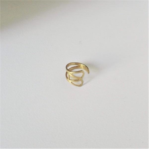 Δαχτυλίδι ανοιχτό σεβαλιέ γεωμετρικό σε μπρούντζο επιχρυσωμένο ή ασήμι Hebri-6