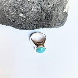 Κλασσικό δαχτυλίδι με πέτρα αχάτη μπλε Rinri-10